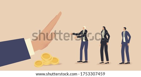 Businessmen ask for financial support and are refused. Queue for a loan. Problems of small and medium business. Financial crisis. Loan refusal. Vector stock illustration.