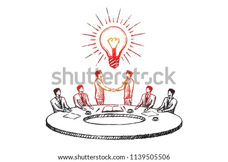Businessmen at the round table signed an agreement. Business concept sketch.