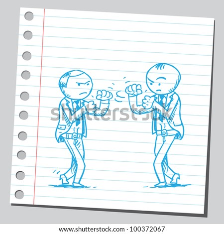 businessmen boxing