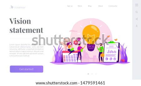 Businessmen brainstorming, searching solution. Business strategy. Vision statement, business mission, company mission, business planning concept. Website homepage header landing web page template.