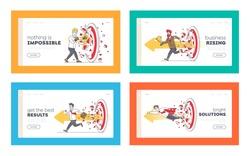 Businessmen Breaking Huge Target Landing Page Template Set. Working Success, Victory. Business Men Character Hit Barrier for Career Boost, Goal Achievement, Challenge. Linear Vector Illustration