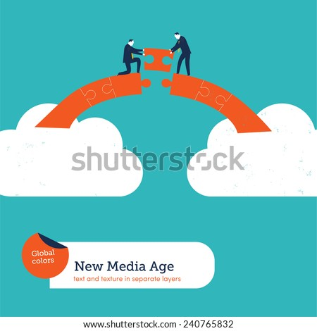 Businessmen building a puzzle bridge from cloud to cloud. Vector illustration Eps10 file. Global colors. Text and Texture in separate layers.