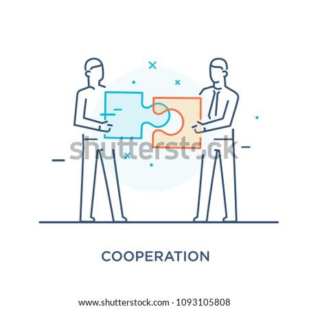 Businessmen connect puzzle. Joint efforts, success, union. Success Cooperation. line icon illustration