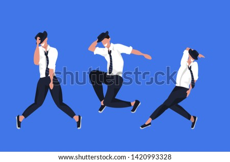 businessmen dancing in different poses male cartoon characters posing together blue background flat full length horizontal