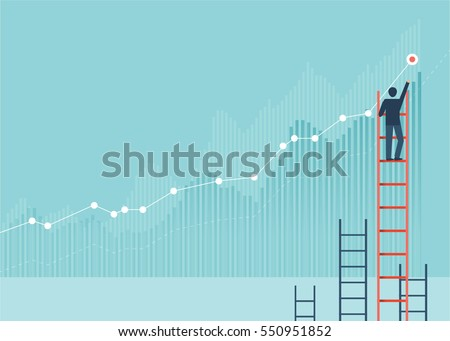 Businessmen drawing graphs on a wall, He climbed the ladder. Back view. wall background. Concept of analysis  information vector design cartoon.