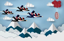 Businessmen flying with rocket engines forward to goal to achieve success. business Concept. Modern ideas creativity. illustration of nature landscape sky with cloud and mountain. paper art