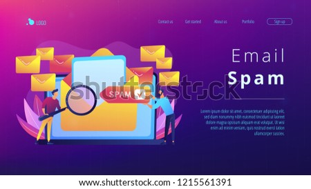 Businessmen get advertising, phishing, spreading malware irrelevant unsolicited spam message. Spam, unsolicited messages, malware spreading concept. Website vibrant violet landing web page template.