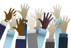Businessmen hands up