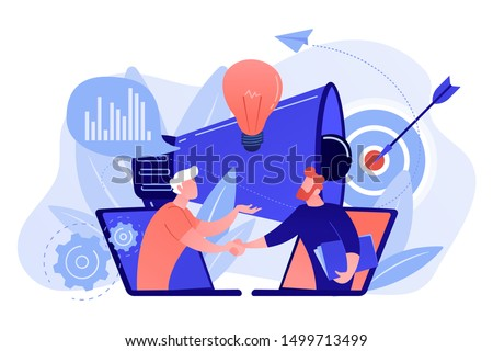 Businessmen handshake from laptops and megaphone. Collaboration and communication, corporate and cooperative business concept on white background. Living coral blue vector isolated illustration