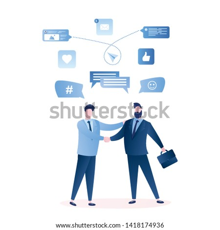 Businessmen handshake, successful business negotiations and agreement concept,male characters and signs isolated on white background. Trendy style vector illustration
