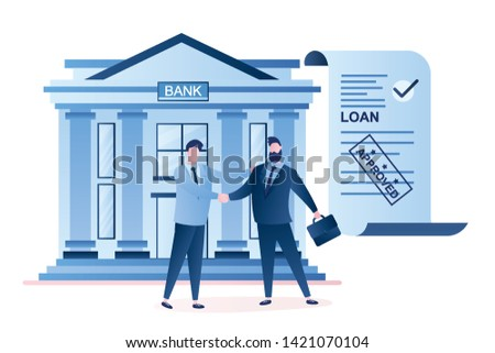 Businessmen handshake, successful business negotiations and approved loan. Loan agreement paper, bank building and male characters in trendy style. Borrower and credit agent.Vector illustration