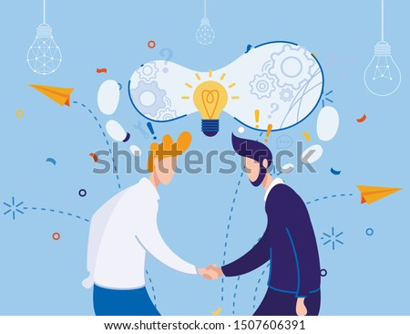 Businessmen Handshaking. Workers Sharing Successful Working Ideas. Business Collaboration and Agreement. Joint Development and Teamwork. Solution Creation and Exchange. Vector Flat Illustration