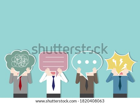 Businessmen holding a speech bubble paper sign. bad communication. Problem resolve control. Don't understand. Communicate not clear. Business concept vector illustration. Foto stock ©