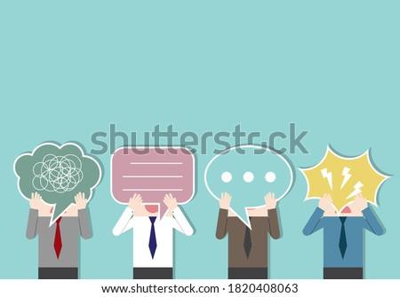 Businessmen holding a speech bubble paper sign. bad communication. Problem resolve control. Don't understand. Communicate not clear. Business concept vector illustration. Foto d'archivio ©