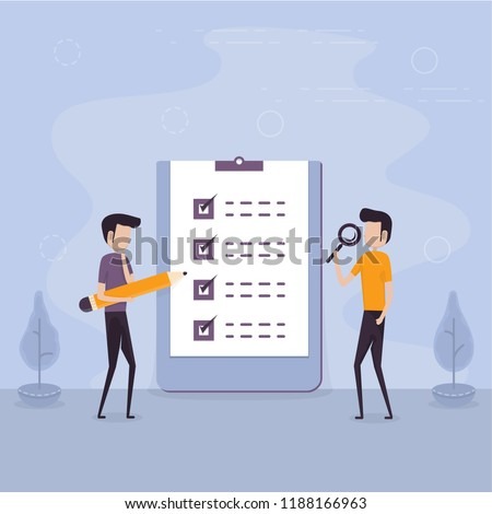 Businessmen holding giant pencil & magnifying glass with big complete checklist.Marked checklist & a clipboard paper.Business organization & achievements of goals concept.Check list with tick mark.