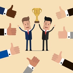 Businessmen holding golden cup over the head . Partnership and teamwork in business concept. Vector illustration