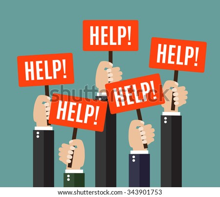 Businessmen holding redsignboards with the word HELP. A lot of hands hold placards. Vector illustration in flat style