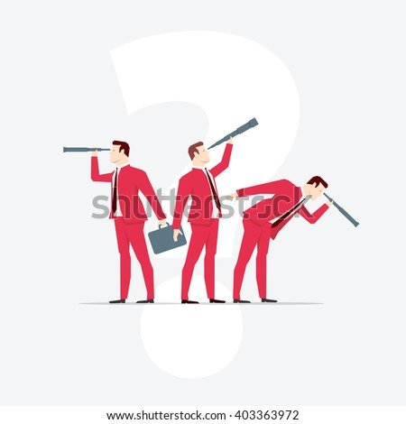 Businessmen, looks through a telescope. Vector business concept illustration.