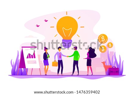 Businessmen making agreement. Brand management. Company collaboration. Partnership and agreement, cooperation and teamwork, business partners concept. Vector isolated concept creative illustration