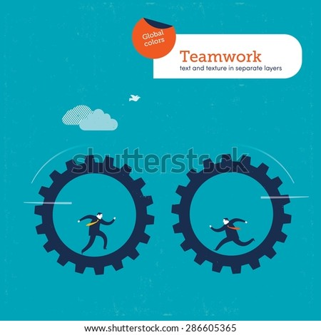 Businessmen on gears approaching one another. Vector illustration Eps10 file. Global colors&layers.