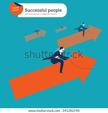 businessmen riding an arrow