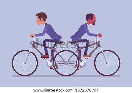 businessmen riding push me pull