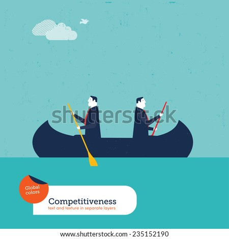businessmen rowing in opposite