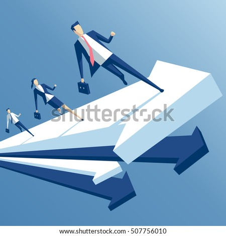 businessmen run up arrow, business people staged a race on the arrow, a business concept team work and growth