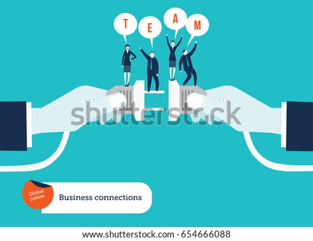 Businessmen's hand connecting socket and plug with business team