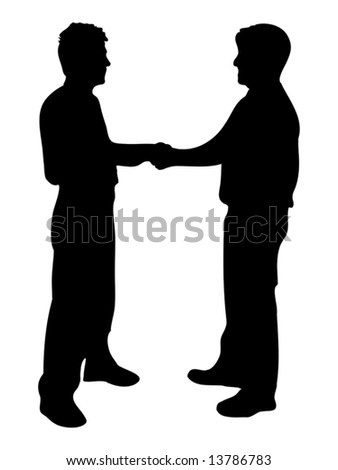businessmen shaking hands silhouette isolated over a white background - stock vector
