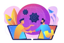 Businessmen shaking hands through laptop screens as online business, conference, meeting, network, deal, negotiations, agreement concept, violet palette. Vector illustration on white background.