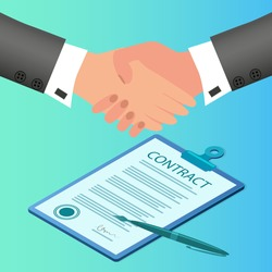 Businessmen sign a contract.Handshake of two businessmen.The concept of concluding a contract of negotiations and agreements.Flat vector illustration.