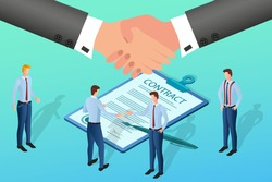 Businessmen sign a contract.Handshake.Two businessmen shake hands when signing a contract.The concept of contractual transactions and partnerships.Isometric vector illustration.