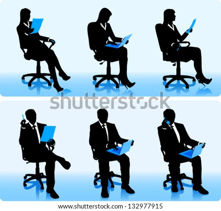 Businessmen silhouettes in office chairs.
