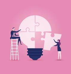 Businessmen sitting on ladder, completing an idea light bulb puzzle - Illustration