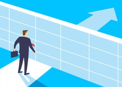 Businessmen standing in front of brick wall barriers, Overcome obstacles on the way to successful, Business concept of challenge problem solving and overcoming obstacles, Vector illustration