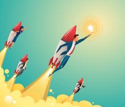 Businessmen team standing on rocket ship flying through on sky. Start up business concept. Vector flat