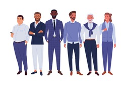 Businessmen team. Vector illustration of diverse standing cartoon men in office outfits. Isolated on white.