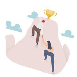Businessmen together climb to the top of the mountain with a trophy. Success, Leadership, Teamwork concept. Flat design style. Vector illustration