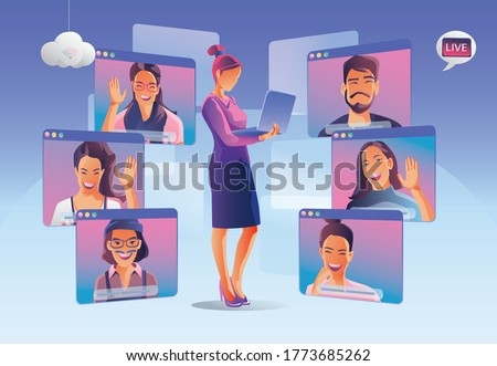 Businessmen use Video conference landing. People on window screen taking with colleagues. Videoconferencing and online meeting workspace page, man and women learning. Vector illustration, Flat Foto stock ©