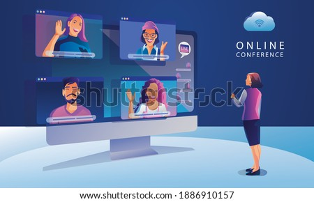 Businessmen use Video conference landing Working People on window screen taking with colleagues. Videoconferencing and online meeting workspace page, man and woman learning Vector illustration, Flat s