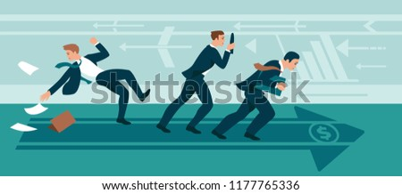 businessmen walking against the wind in a goal. businessmen overcome resistance. Against Obstacles Cartoon vector illustration