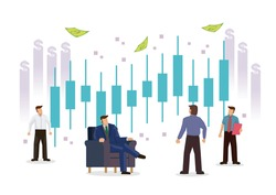 Businessmen with candlestick chart of the stock market. Concept of stock investment or corporate earning. Flat cartoon character ioslated on white background. Vector illustration,