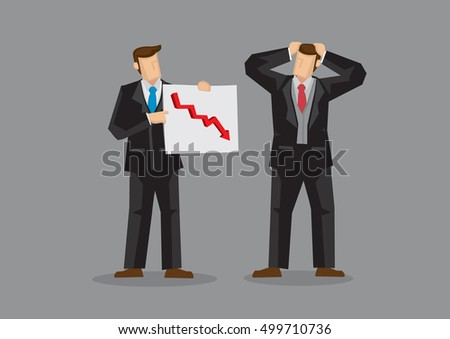 Businessmen with chart showing downward trend feeling stressed about declining business. Cartoon vector illustration on poor business performance concept isolated on grey background.