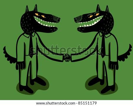 businessmen wolf hold hands