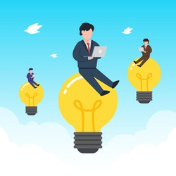 Businessmen work on the floating light bulbs. Creative concept of searching business idea, solution, or inspiration. Simple trendy cute vector illustration. Modern flat style. Abstract graphic design.