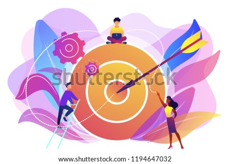Businessmen working and woman at big target with arrow. Goals and objectives, business grow and plan, goal setting concept on white background. Bright vibrant violet vector isolated illustration