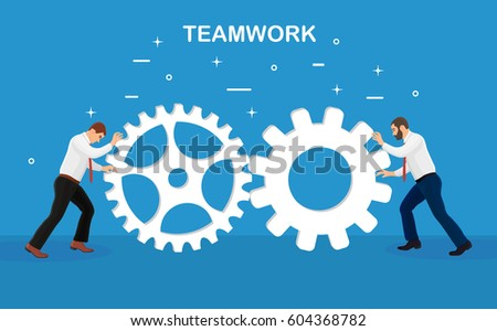 Businessmen working together. Business teamwork. Collaboration, leadership, partnership concept. People pushing huge gears and cogs towards each other. Vector illustration. Flat cartoon design