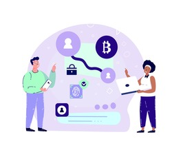 Businesspartners Make a Deal on Bitcoin Smart Contract Bargain in Laptop and Smartphone Device.Innovation Technology Agreement.Cryptocurrency,Crypto Start Up.High Technologies.Flat Vector Illustration