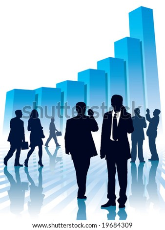 Businesspeople and a large graph, conceptual business illustration.